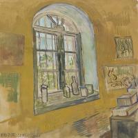 【印刷级】SMR181046137-著名荷兰后印象派画家文森特梵高Vincent van Gogh手稿素描作品图片-Window in the Studio-45M-3500X4558