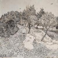 【打印级】SMR181046118-著名荷兰后印象派画家文森特梵高Vincent van Gogh手稿素描作品图片-Olive Trees33-39M-4200X3286