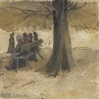 【打印级】SMR181046121-著名荷兰后印象派画家文森特梵高Vincent van Gogh手稿素描作品图片-Four People on a Bench-39M-4200X3315