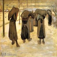 【欣赏级】SMR181046022-著名荷兰后印象派画家文森特梵高Vincent van Gogh手稿素描作品图片-Women Miners-13M-2760X1740
