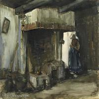 【印刷级】SMR181046134-著名荷兰后印象派画家文森特梵高Vincent van Gogh手稿素描作品图片-Woman by a Hearth-44M-4490X3500