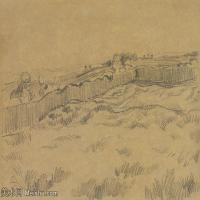 【欣赏级】SMR181046013-著名荷兰后印象派画家文森特梵高Vincent van Gogh手稿素描作品图片-VINCENT VAN GOGH-THE WALLED WHEATFIELD-8M-