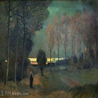 【欣赏级】SMR181046021-著名荷兰后印象派画家文森特梵高Vincent van Gogh手稿素描作品图片-Autumn Landscape at Dusk-10M-2523X1430