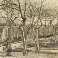 【印刷级】SMR181046128-著名荷兰后印象派画家文森特梵高Vincent van Gogh手稿素描作品图片-The Vicarage Garden-41M-4120X3500