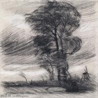 【打印级】SMR181046113-著名荷兰后印象派画家文森特梵高Vincent van Gogh手稿素描作品图片-Landscape in Stormy Weather-38M-3205X4200