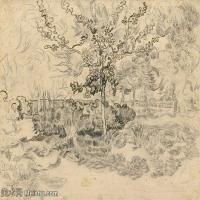 【打印级】SMR181046112-著名荷兰后印象派画家文森特梵高Vincent van Gogh手稿素描作品图片-Trees in the Garden of the Asylum222-38M-4