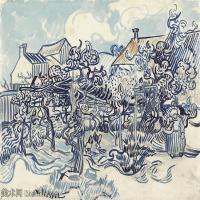 【打印级】SMR181046127-著名荷兰后印象派画家文森特梵高Vincent van Gogh手稿素描作品图片-Old Vineyard with Peasant Woman-40M-4200X3