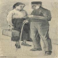 【欣赏级】SMR181046028-著名荷兰后印象派画家文森特梵高Vincent van Gogh手稿素描作品图片-VINCENT VAN GOGH-OUDE MAN EN VROUW-17M-185