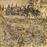 【欣赏级】SMR181046029-著名荷兰后印象派画家文森特梵高Vincent van Gogh手稿素描作品图片-A Garden in Provence-18M-2806X2280