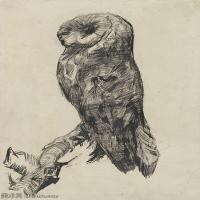 【打印级】SMR181046102-著名荷兰后印象派画家文森特梵高Vincent van Gogh手稿素描作品图片-Barn Owl-37M-3138X4200