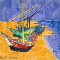 【欣赏级】SMR181046023-著名荷兰后印象派画家文森特梵高Vincent van Gogh手稿素描作品图片-Fishing Boats on the Beach-14M-2599X1889