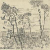 【欣赏级】SMR181046009-著名荷兰后印象派画家文森特梵高Vincent van Gogh手稿素描作品图片-VINCENT VAN GOGH-SIX PINES NEAR THE ENCLOS