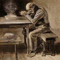 【印刷级】SMR181046129-著名荷兰后印象派画家文森特梵高Vincent van Gogh手稿素描作品图片-An Old Man prayer-41M-3500X4151