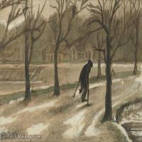 【欣赏级】SMR181046011-著名荷兰后印象派画家文森特梵高Vincent van Gogh手稿素描作品图片-VINCENT VAN GOGH-WINTER, OOK IN HET LEVEN-