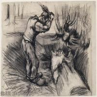 【打印级】SMR181046116-著名荷兰后印象派画家文森特梵高Vincent van Gogh手稿素描作品图片-Woodcutter-39M-4200X3249
