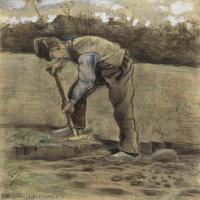 【印刷级】SMR181046142-著名荷兰后印象派画家文森特梵高Vincent van Gogh手稿素描作品图片-A Digger-46M-3500X4637