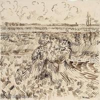 【欣赏级】SMR181046020-著名荷兰后印象派画家文森特梵高Vincent van Gogh手稿素描作品图片-Wheat Field with Sheaves22-10M-2154X1635