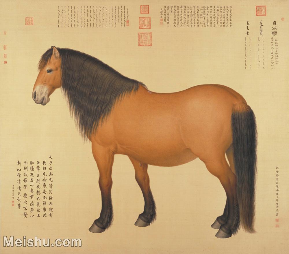 【印刷级】GH6085016古画动物马-清-郎士宁-绢本-30x34-80x91-骏马立轴图片-119M-6887X60