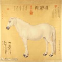 【印刷级】GH6155057古画立轴动物马-郎世宁国画水墨-骏马图片-135M-7087X6706