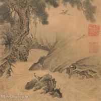 【印刷级】GH6081248古画山水风景松河图-国画工笔画小品-25x25-50.5x50-河流-松树-小品图片-63M-4088X4066