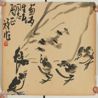 【印刷级】GH6081087古画山水风景禅心花鸟小鸡啄米图小品图片-83M-6204X4686