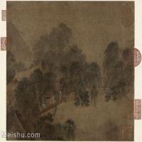 【印刷级】GH6081232古画山水风景杨柳溪堂图页故宫博物院藏-宋-佚名国画水墨-30x25-72x60-柳树-小溪-建筑-人物-小品图片-60M-5022X4187