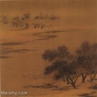 【印刷级】GH6081177古画山水风景-沙汀丛树图-国画水墨-25.5x25-35.5x35-河流-树木-小品图片-25M-3000X2947