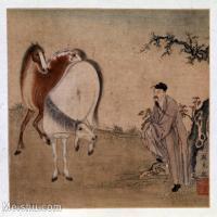 【印刷级】GH6156075古画清代] 顾见龙 相马图页 大英博物馆人物小品图片-15M-2480X2231