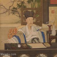 【印刷级】GH6156072古画清 《乾隆帝写字像》人物小品图片-6M-1599X1388