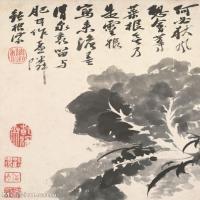 【印刷级】GH6060895古画二玄社-清-石涛-花卉册(12幅)-(11)册页图片-72M-2363X3637_56941363