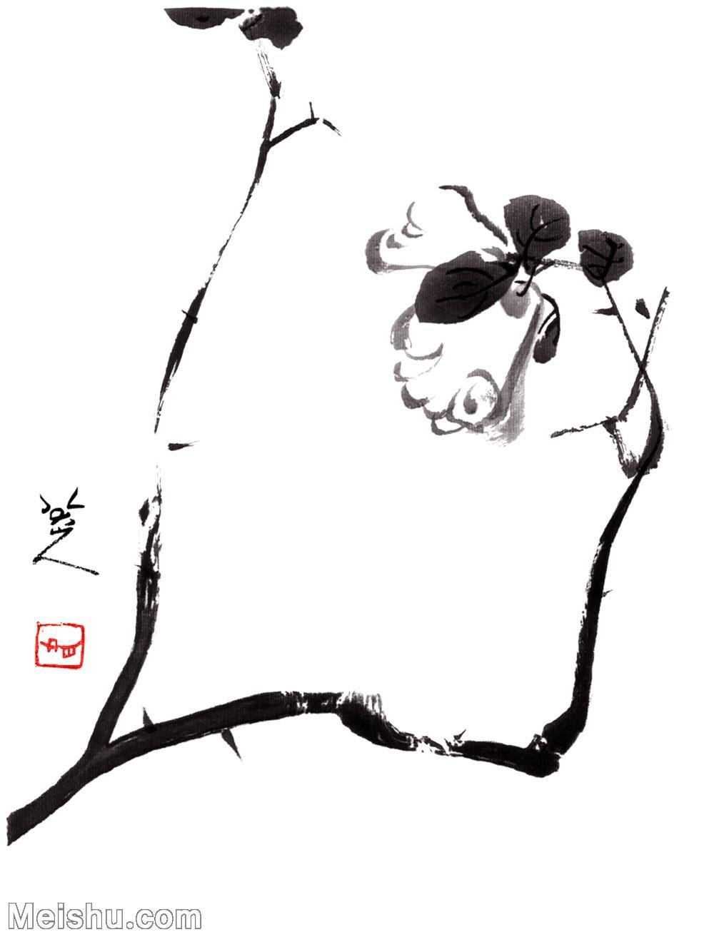 【印刷級】GH6085395古畫樹木植物-涉事小品圖2-清-朱耷-紙本-30x40-90x120-小花朵鮮花卉-八大山人