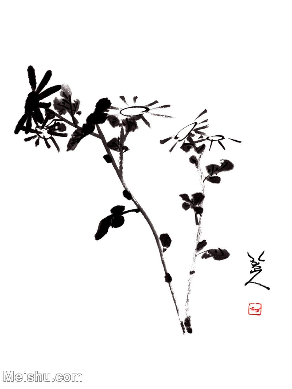 【印刷級】GH6085394古畫樹木植物-野花圖-清-朱耷-紙本-30x40-90x120-小花朵鮮花卉-八大山人立軸圖