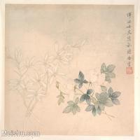 【印刷級】GH6063259古畫清代惲冰女史植物月季蘭花卉冊頁圖片-40M-4000X3574