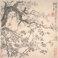 【印刷级】GH6064654古画清-金农-梅花图册-大都会博物馆-(1)册页图片-38M-4000X3366