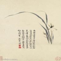 【印刷级】GH6062448古画石涛花卉册(8)册页图片-43M-3183X4823