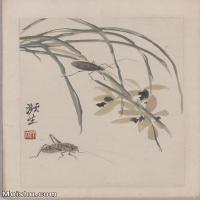 【超顶级】JXD6190073近现代国画齐白石作品花卉草虫--水墨-30x42-80x112-花卉-草虫-蚂蚱册页图片-141M-