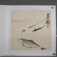 【超顶级】JXD6190239近现代国画齐白石作品鱼虾图册--水墨-30x39.5-40x52.5-鱼