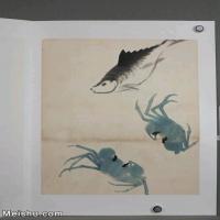 【超顶级】JXD6190241近现代国画齐白石作品鱼虾图册--水墨-30x39.5-40x52.5-螃蟹-八方来财