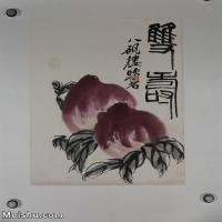 【超顶级】JXD6190091近现代国画齐白石作品花鸟--水墨-30x43.5-40x58-寿桃-双寿册页图片-173M-