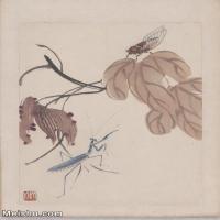 【超顶级】JXD6190077近现代国画齐白石作品花卉草虫--水墨-30x43-80x115-花卉-草虫-螳螂-蝉册页图片-142M-