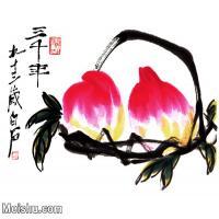 【超顶级】JXD5265484近现代国画名家双寿-齐白石国画水墨小品-34x30-95x83.5-寿桃-桃子花鸟植物图片-427M-11