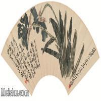 【打印级】JXD6192514近现代国画齐白石 蝴蝶兰图扇 纸本 49x24-图片-63M-