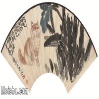 【打印级】JXD6192512近现代国画齐白石 耄耋图扇 纸本 50x25-图片-66M-