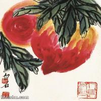 【印刷级】JXD12122331-齐璜高端-小品镜片-齐白石 红桃 近现代国画高清艺术图像喷墨印刷专用电子数据图像下载-51M-