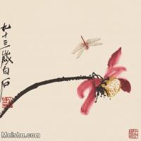 【印刷级】JXD12122328-齐璜高端-小品镜片-荷花蜻蜓图近现代国画高清艺术图像喷墨印刷专用电子数据图像下载-61M-