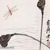 【印刷级】JXD12122319-齐璜高端-小品镜片-齐白石莲篷蜻蜓近现代国画高清艺术图像喷墨印刷专用电子数据图像下载-37M-