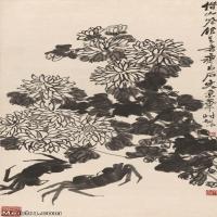 【超顶级】JXD5260204近现代国画墨菊螃蟹图-齐白石国画水墨立轴-30x60-50x99.5-花卉-菊花-富贵-288M-6160X