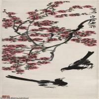 【超顶级】JXD5260209近现代国画双喜图-齐白石国画水墨立轴-30x106-50x176.5-花卉-红梅-喜鹊报春-503M-6110X
