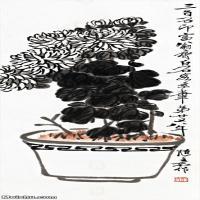 【超顶级】JXD5260190近现代国画菊花-齐白石国画水墨立轴-30x84.5-40x112.5-花卉-墨菊-289M-4917X
