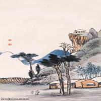 【超顶级】JXD5240215近现代国画山水-齐白石国画水墨立轴-30x57.5-50x96-人家-树木山水风景图片-259M-5